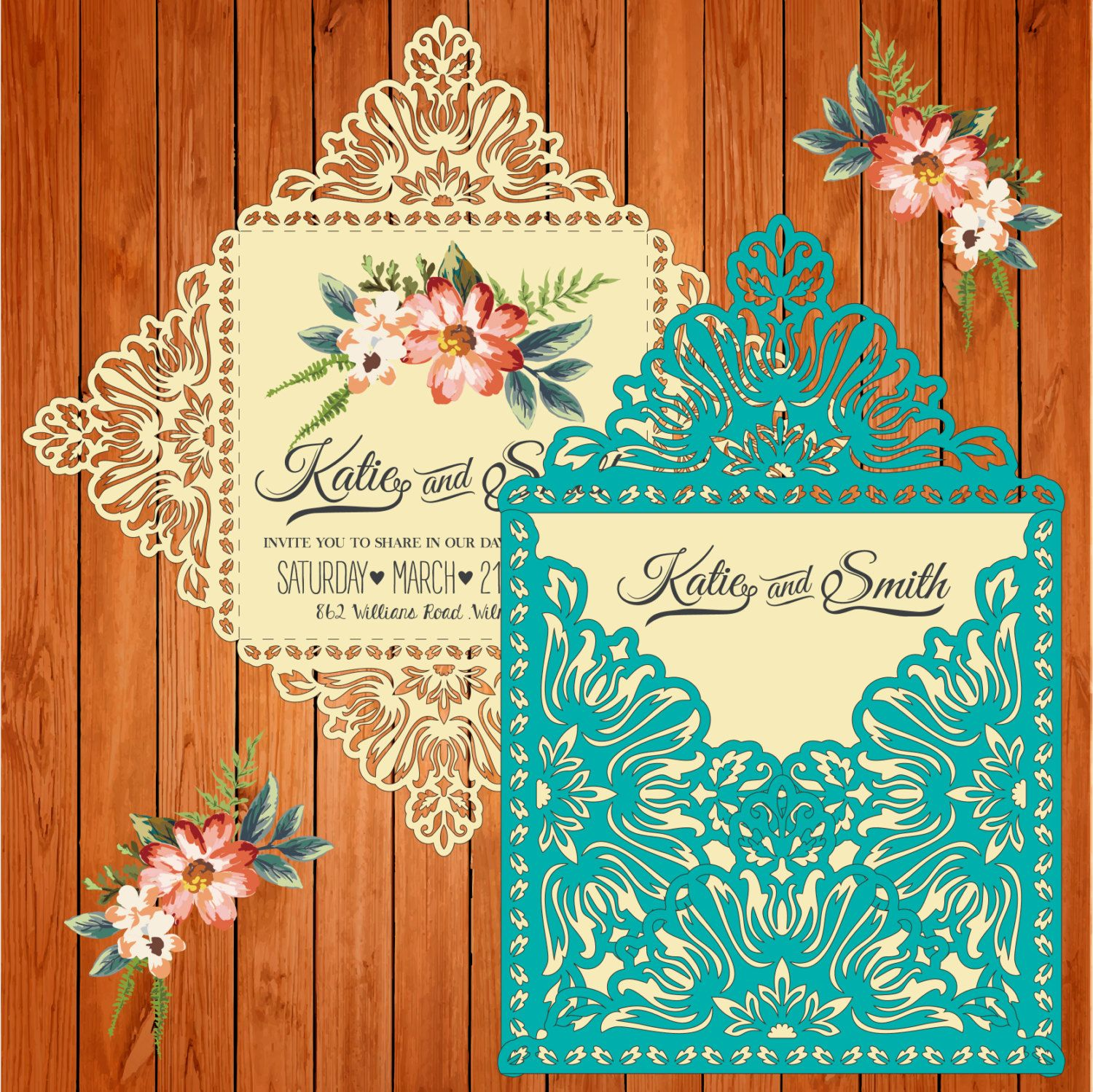 Wedding card invitation template, figures (ai, eps, svg) lasercut ...