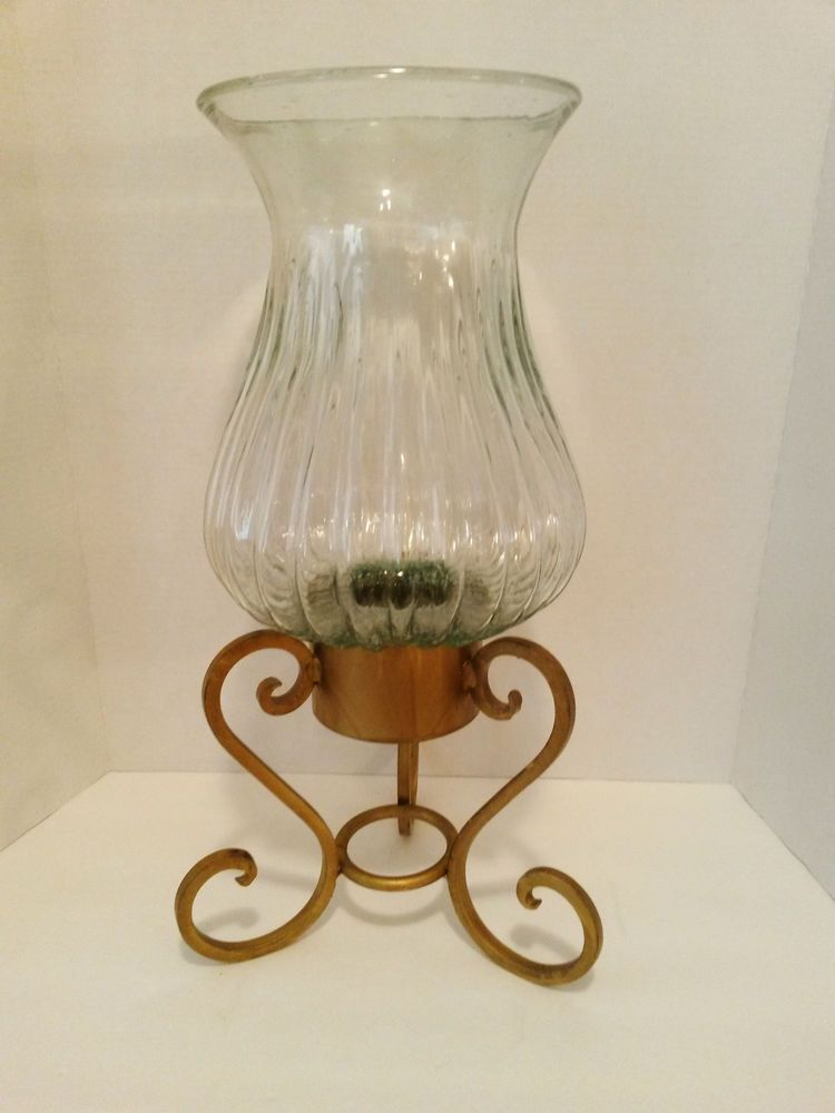 Hurricane N Gl Vase Wrought Iron Stand 21 Candle Holder Flower