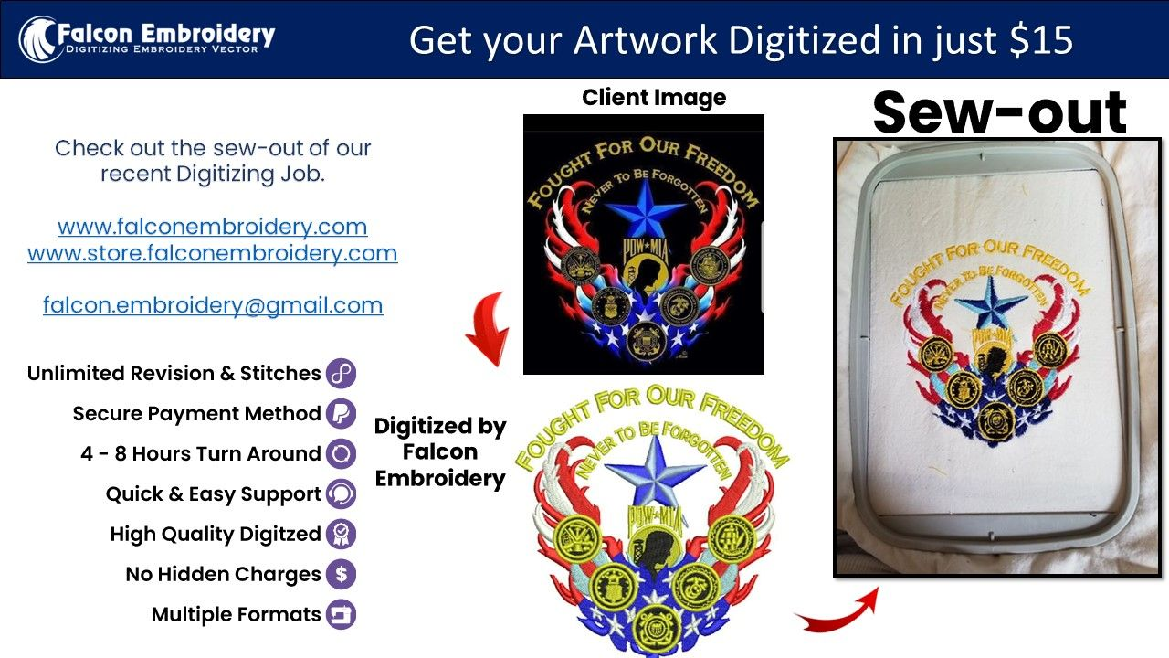 Please Visit Our Website To Order. www.falconembroidery