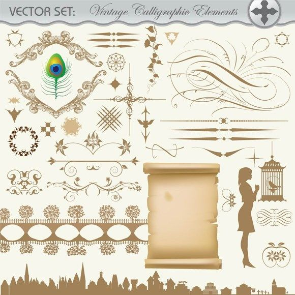 Retro patterned parchment vector map