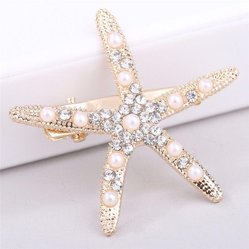 Starfish Hair Clip With Rhinestones Large Hairpin For Women Girls