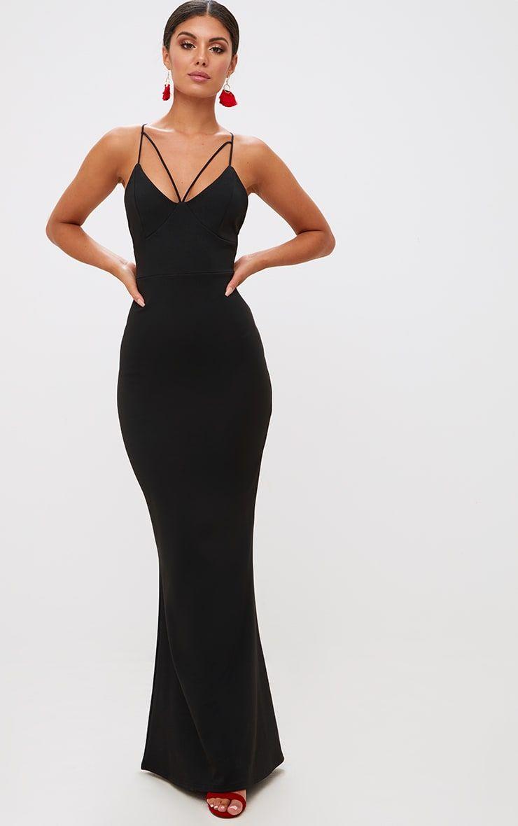 Black Strap Detail Strappy Maxi Dress Dresses Strappy Maxi Dress Maxi Dress [ 1180 x 740 Pixel ]