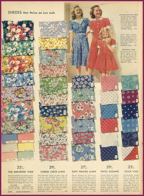 1940 S Fashion Sears Catalogue Fab Fabric Lawn And Voile Prints Vintage Dress Patterns Vintage Fabrics Vintage Fabric Prints