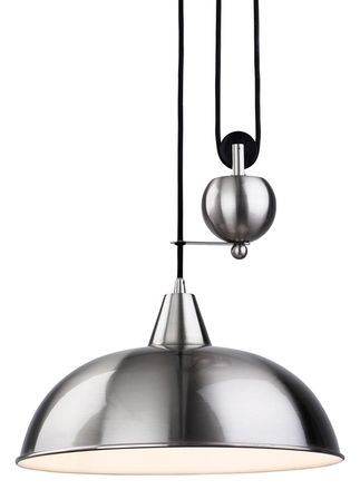Firstlight Century Rise And Fall Ceiling Light In Brushed Steel - Brushed steel kitchen ceiling lights