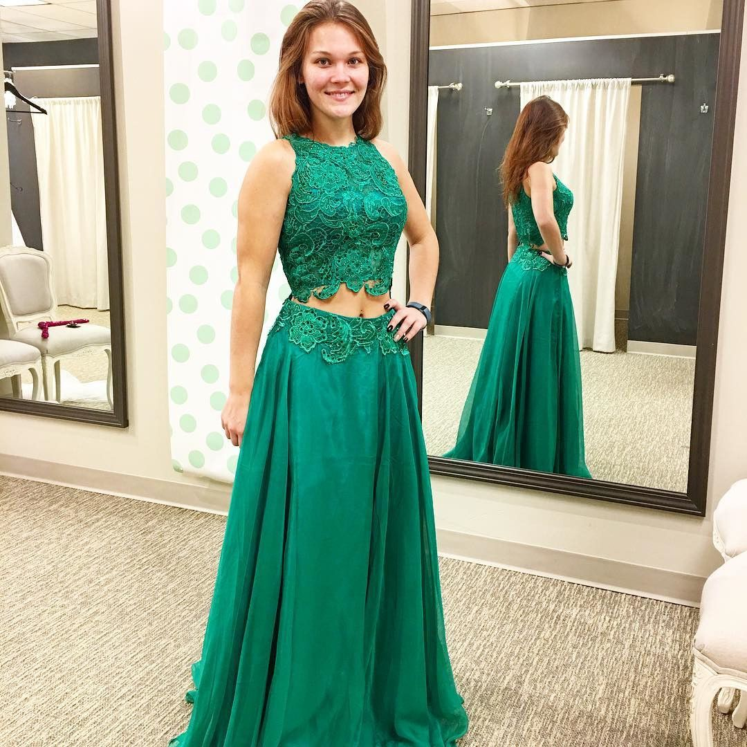 Two Pieces Prom Dresses, Lace Prom Gown , Green Prom Dress,Formal ...