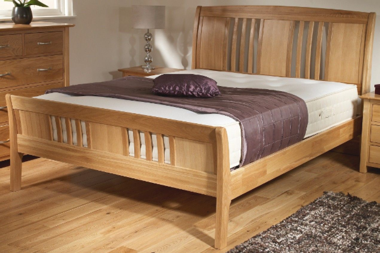 New Oak Wooden Sleigh Bed Light wood Wooden Beds
