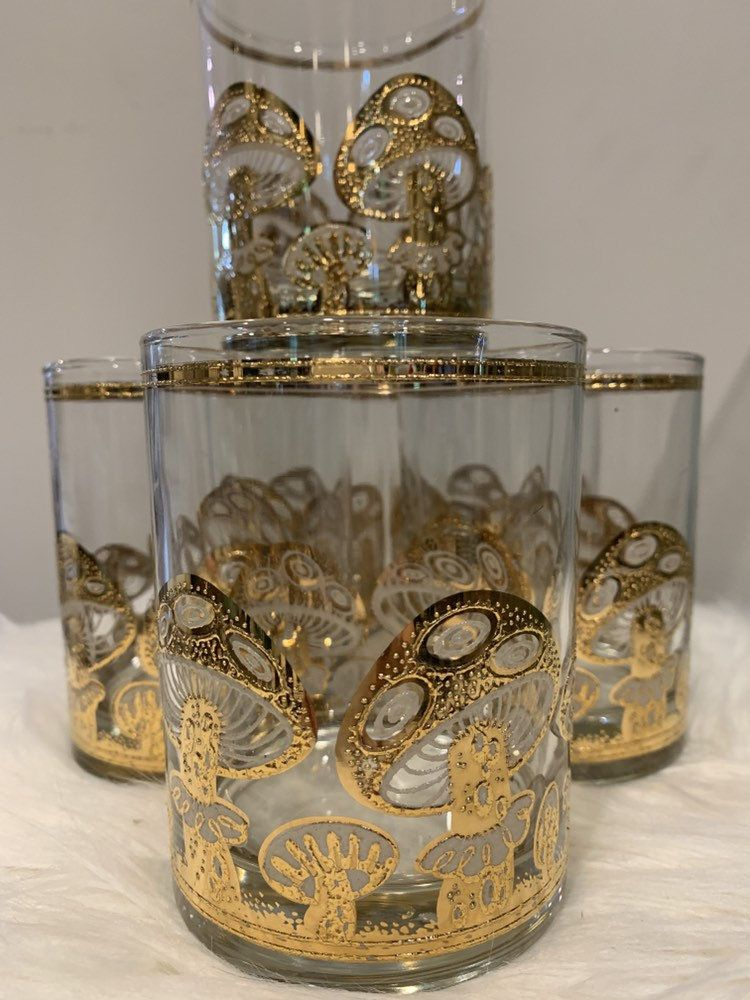 Culver gold mushroom double oldfashion glasses in etsy