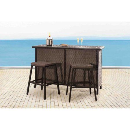 Sunjoy 110214002 Tulsa 73 Inch X 24 Inch X 43 Inch Aluminum And Wicker Bar  Set