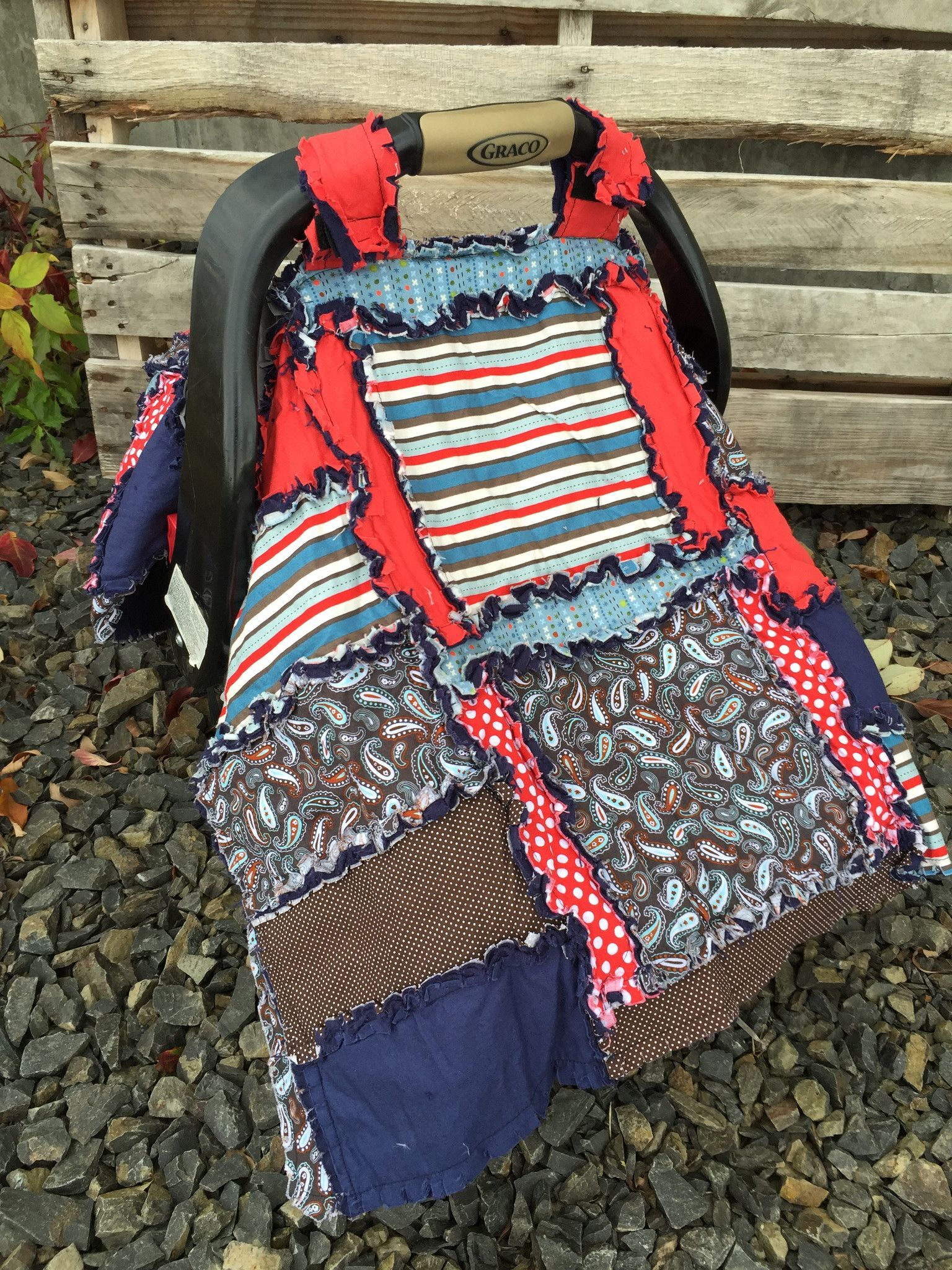 Carseat Canopy For Baby Boy In Blue And Red For Unique