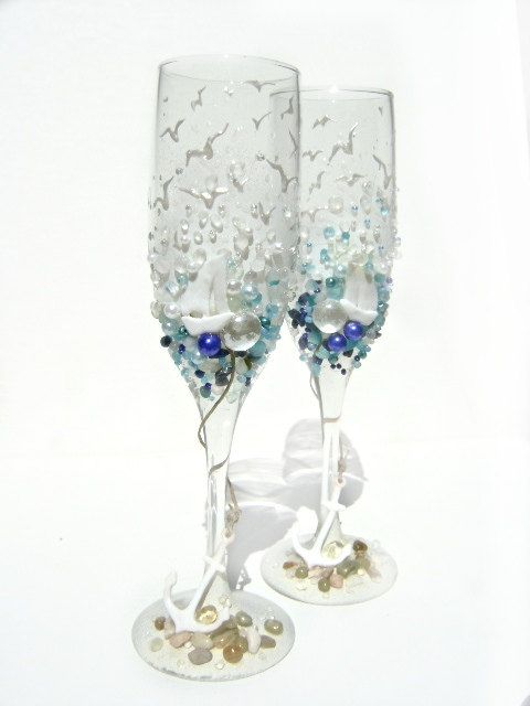 Starfish Wedding Champagne Gles Beach Toasting Flutes In White Water Blue And Green