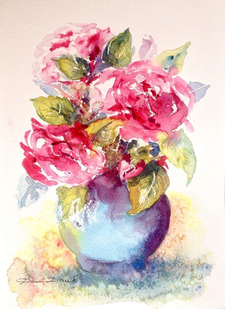 Aquarelle Originale signée Dam Domido Bouquet de roses anciennes Akoun Artprice