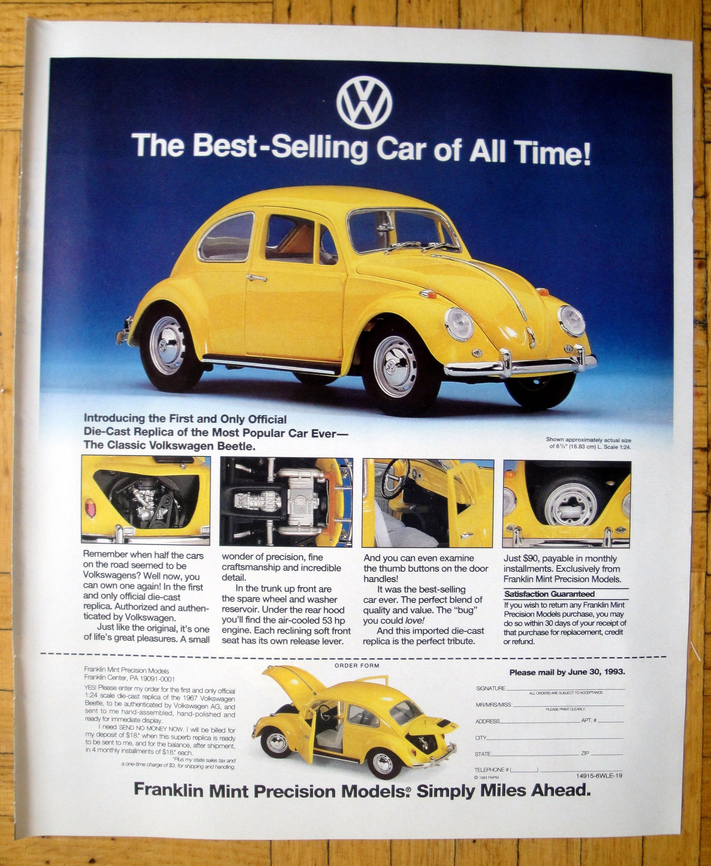1993 Vw Beetle Yellow Volkswagen Bug Franklin Mint Original 12 Etsy Volkswagen Classic Volkswagen Beetle Vw Beetles