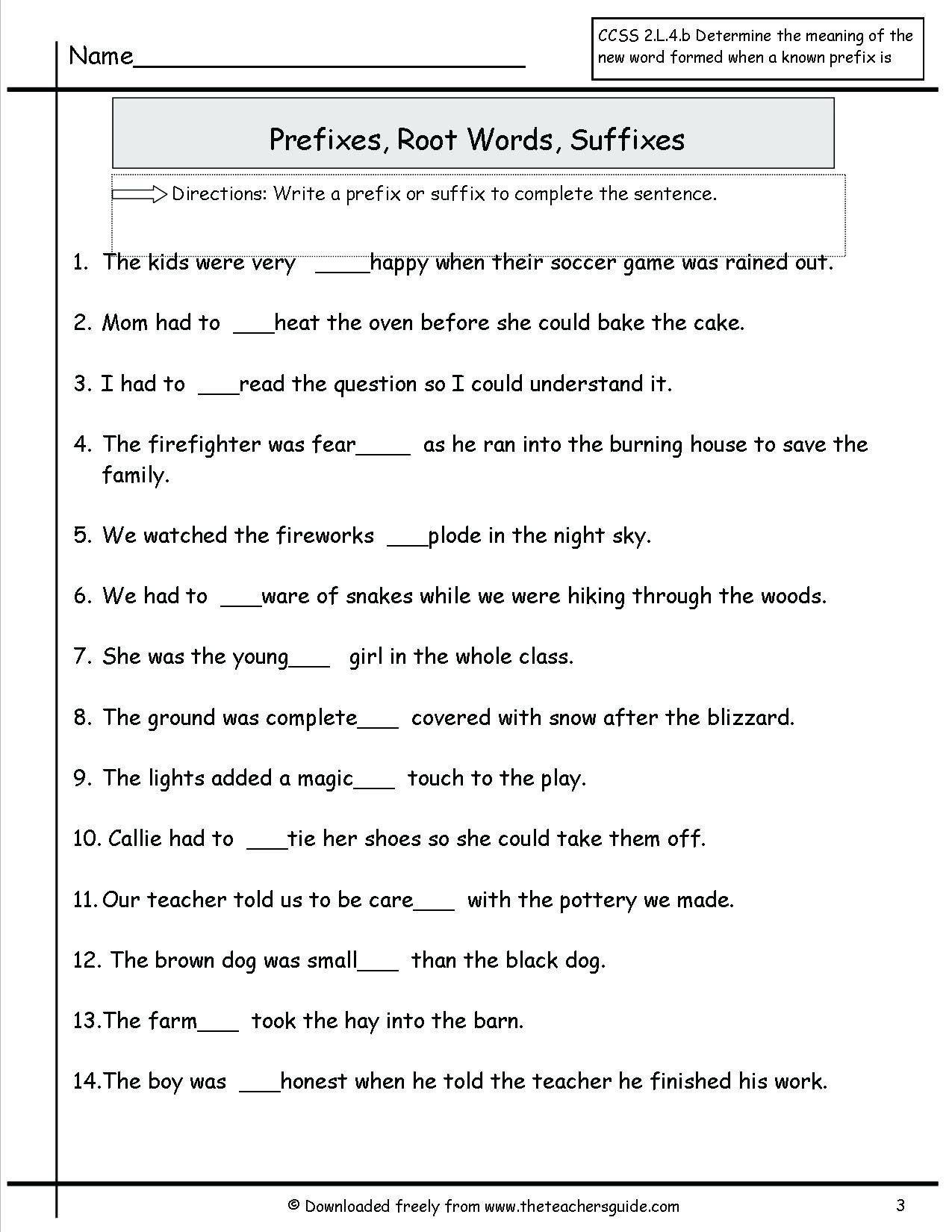 Suffix Worksheets for 4th Grade 3rd Grade Prefixes and Suffixes Worksheets  Root Words   Suffixes worksheets [ 1650 x 1275 Pixel ]