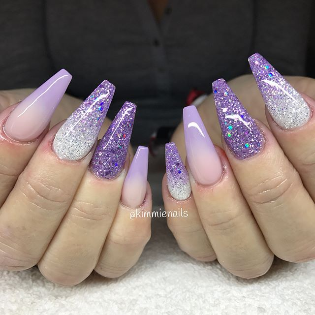 Purple Silver Nails Stiletto Nails Designs Pointy Nails Almond Nails Designs