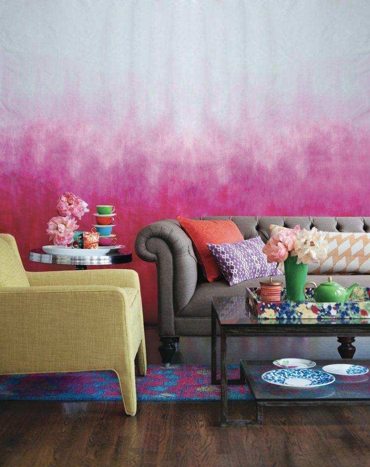ombre effekt an der wand in pink und hellgrau kreieren | ideen, Wohnzimmer dekoo