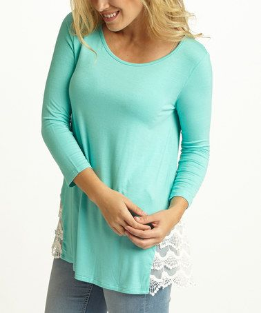 Look at this #zulilyfind! Aqua Tiered-Lace Swing Top by Pinkblush #zulilyfinds