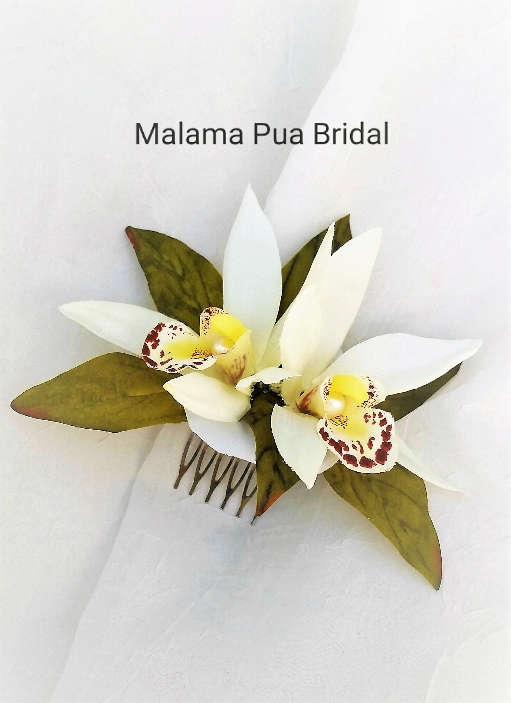 Wedding Flower Hair Comb Tropical Hair Accessory Petite Silk Hair Flower Ivory Bridal Hair Accessories Flower Hawaiian Flower Hair Wedding Flower Hair Comb
