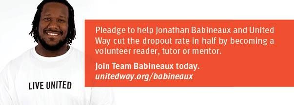 Let's help Atlanta Falcons Jonathan Babineaux win Most Valuable Mentor.  Sign up now to help Babineaux top the United Way TEAM NFL Playoff Challenge. The winning player earns $10,000 for his local United Way!  Pledge to get involved now!