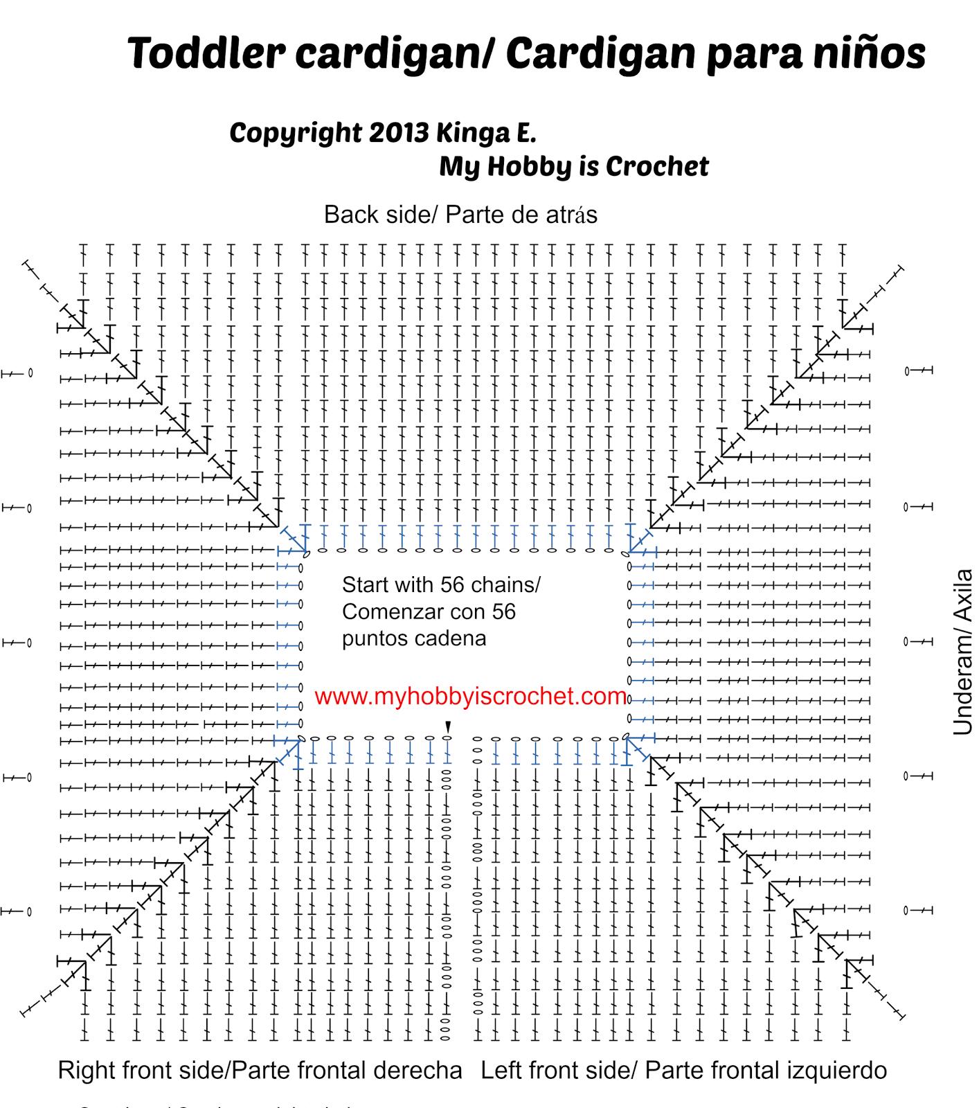Crochet cardigan- el gráfico yugo | Canesú | Pinterest | Ganchillo ...