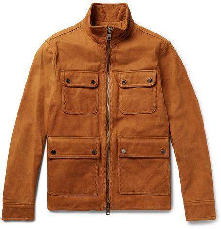 Michael Kors Nubuck Field Jacket Leather Jacket Men Mens Military Style Jacket Mens Jackets