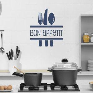 Bon Appetite Cutlery Kitchen Vinyl Wall Art Sticker Decal Dining Room QU151