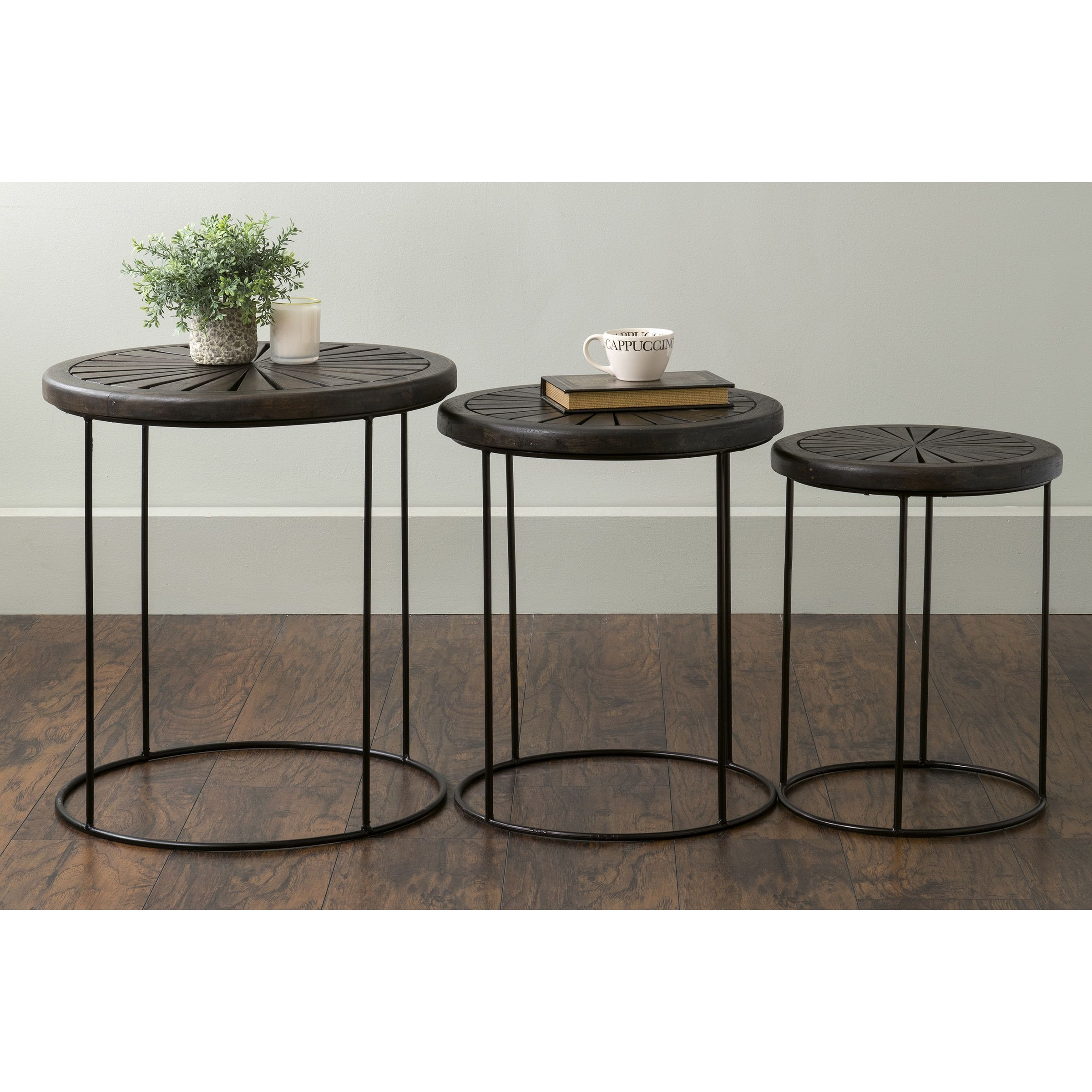 East At Mainu0027s Bartlett Brown Round Mango Wood Accent Nesting Table  (Bartlett 510)