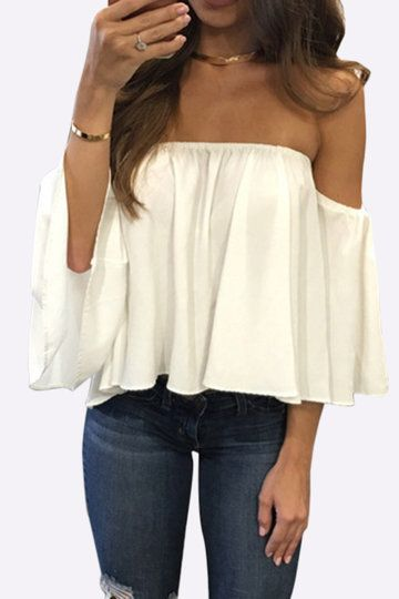 11431b0ce3a White Sexy Off Shoulder Loose Fit Blouse Blouse Styles, Blouses For Women, Chiffon  Blouses
