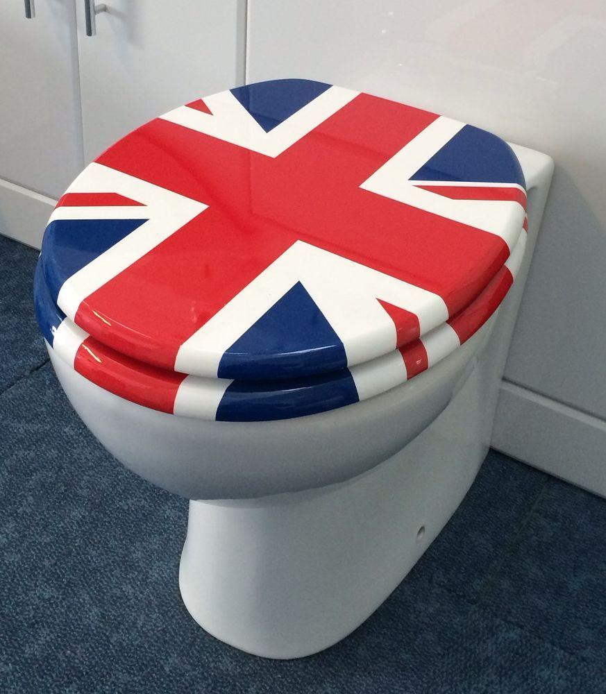 union jack toilet seat. QUALITY UNION JACK FLAG TOILET SEAT WITH ADJUSTABLE CHROME BAR HINGE  BATHROOM WC