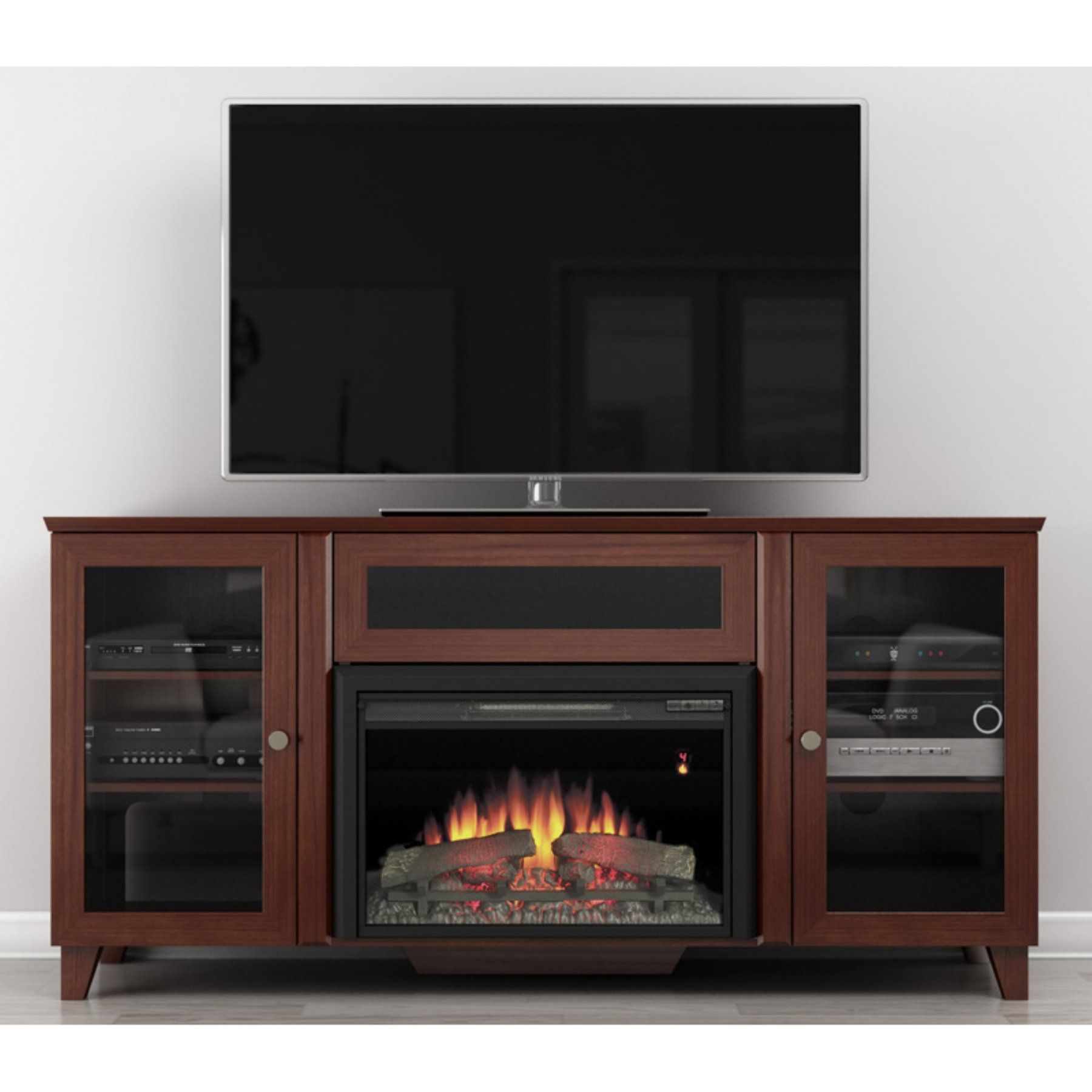 Furnitech 70 in shaker style tv console with 25 in electric shaker style tv console with 25 in electric fireplace dark teraionfo