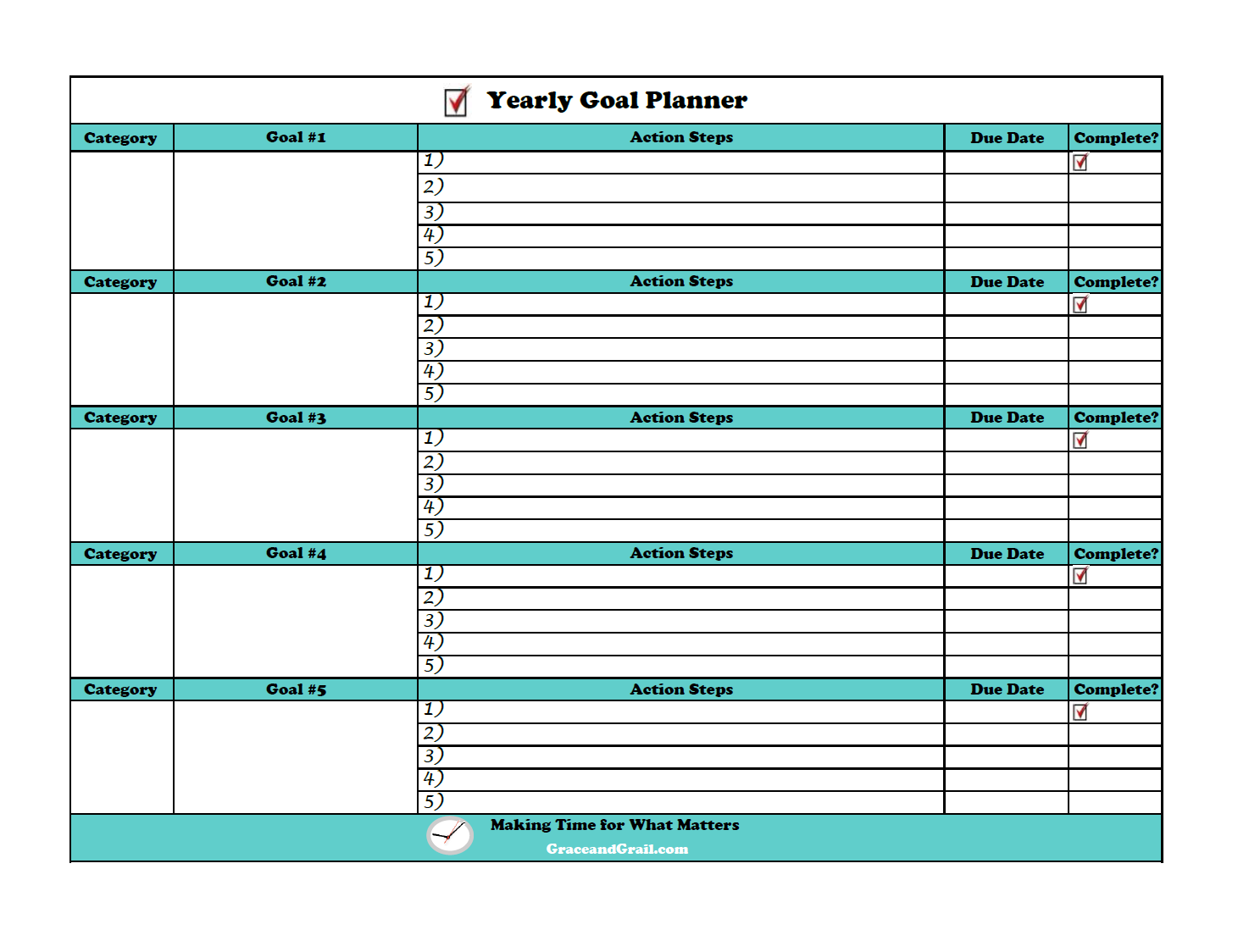 Goal Setting Worksheets For Adults