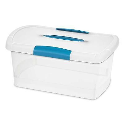 Latch File Box Nesting Clear Storage Container Clear 6 Pack Plastic Lid Bin Blue