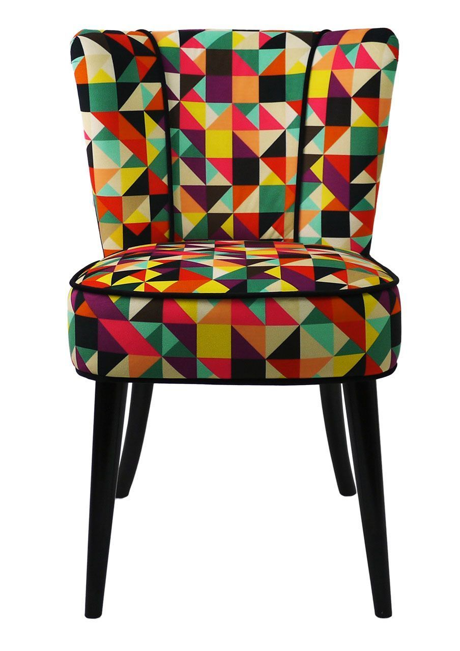 chaise tissu motifs triangles multicolores - Chaise Scandinave Multicolore