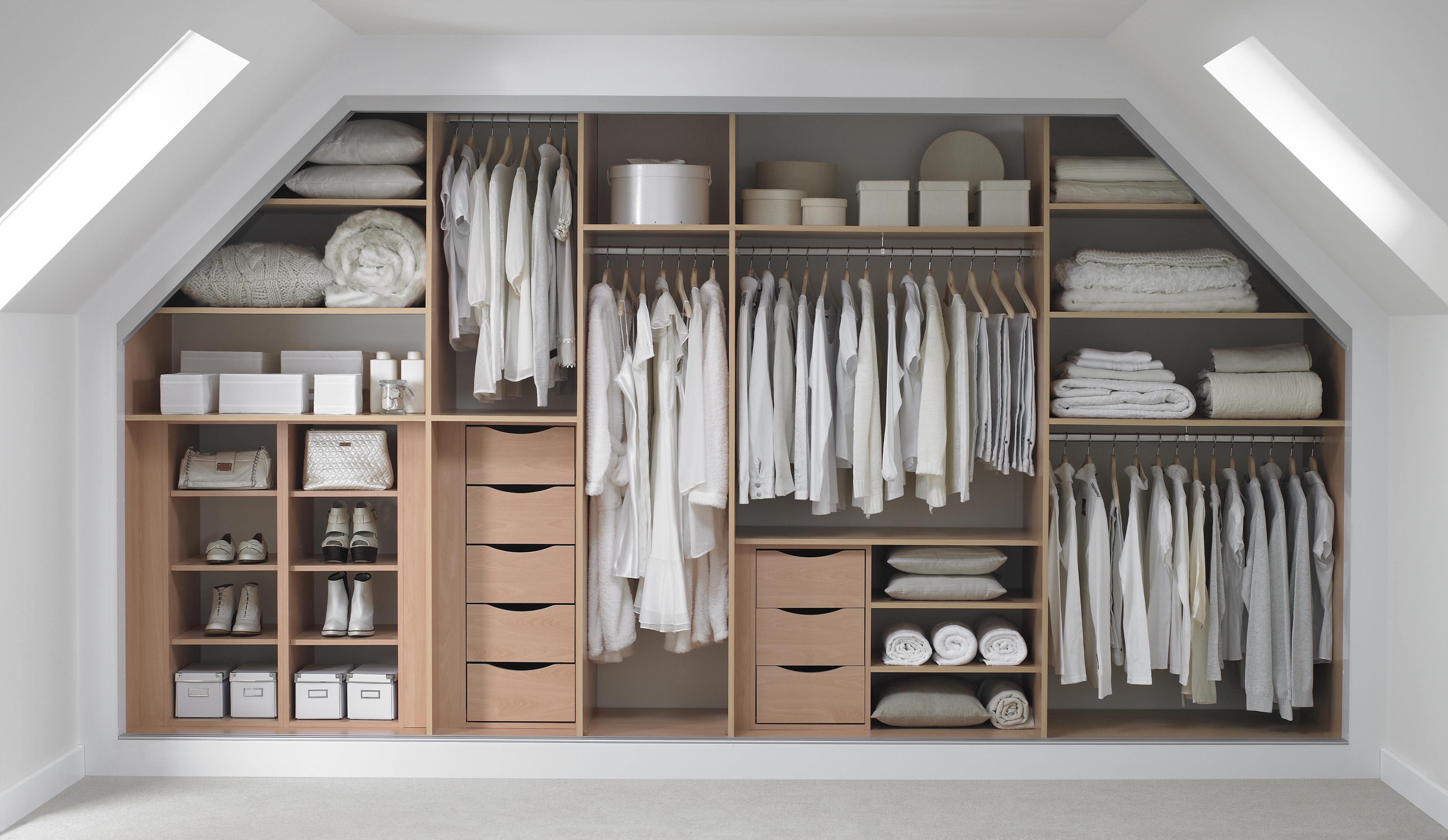 Bedroom design ideas for awkward spaces. Built in wardrobe ideas. Attic bedroom inspiration. Clever storage solutions for bedrooms. Wardrobes. Interiors. Bedroom design.