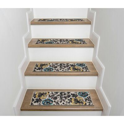 Best Ebern Designs Tylersburg Beige Gray Stair Tread Stair 400 x 300