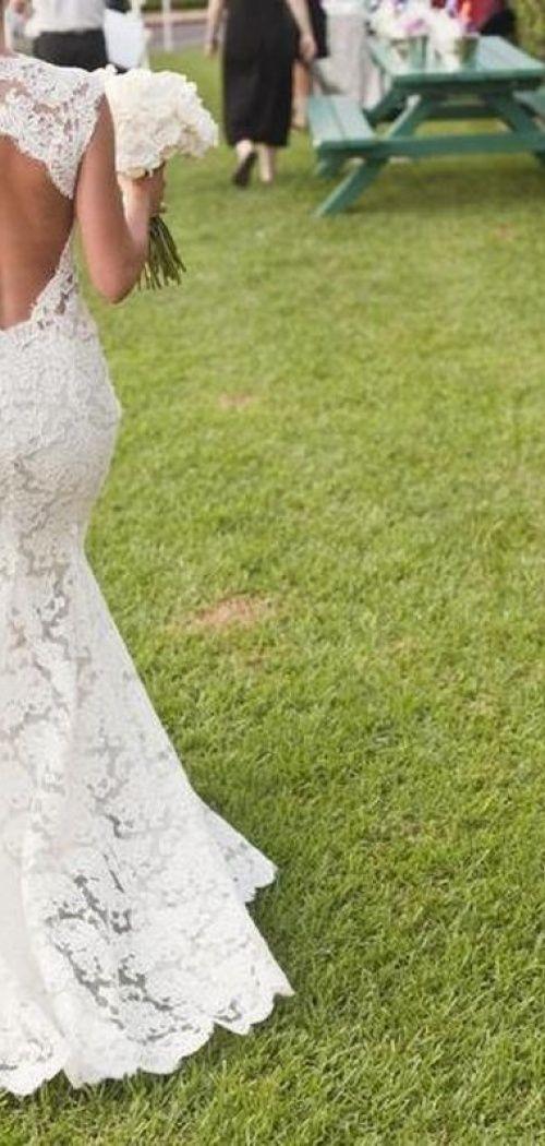 Trumpet Sleeveless Lace Sweep Train Bare Back V-neck Wedding Dress