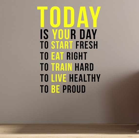 Today is your day. Wall Art Fitness Decal Quote Gym Kettlebell Crossfit Yoga Boxing - #Art, #Boxing...