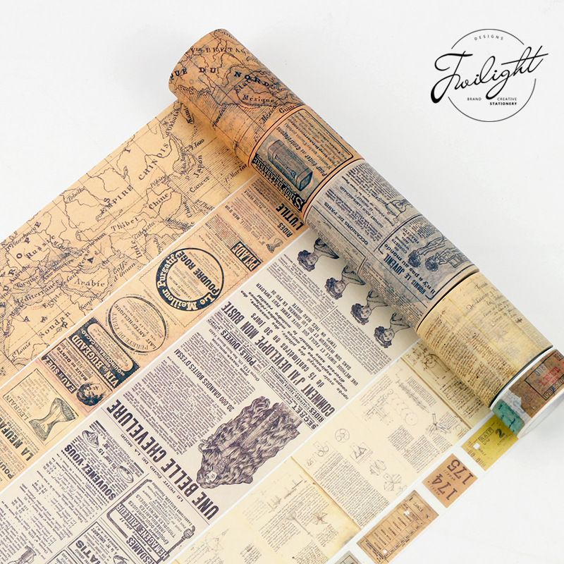 Creative Retro Newspaper Map Gothic Decorative Adhesive Tape Washi Tape DIY  Scrapbooking Masking Tape School Office