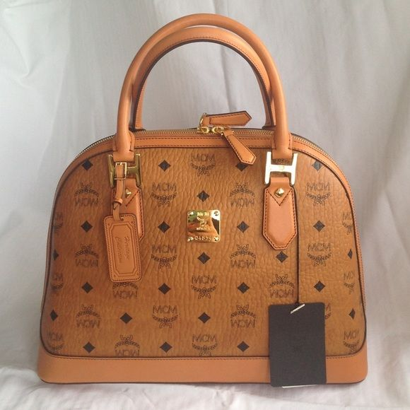 Mcm Signature Bowler Bag Real Brand New With Tags In Classic Tan Logo Super Hot Right Now Easy To Cary Never Used