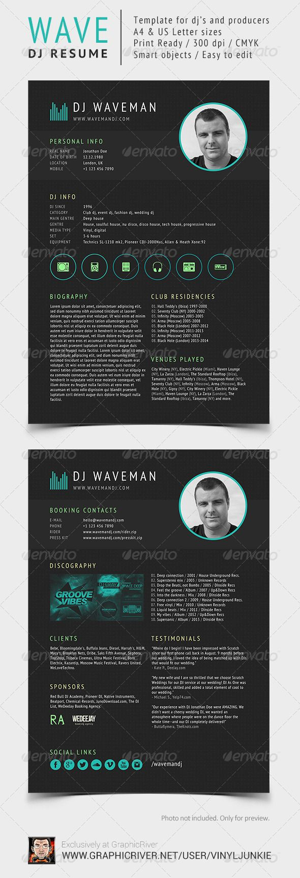 Wave - DJ Resume / Press Kit | Press kits, Dj and Template