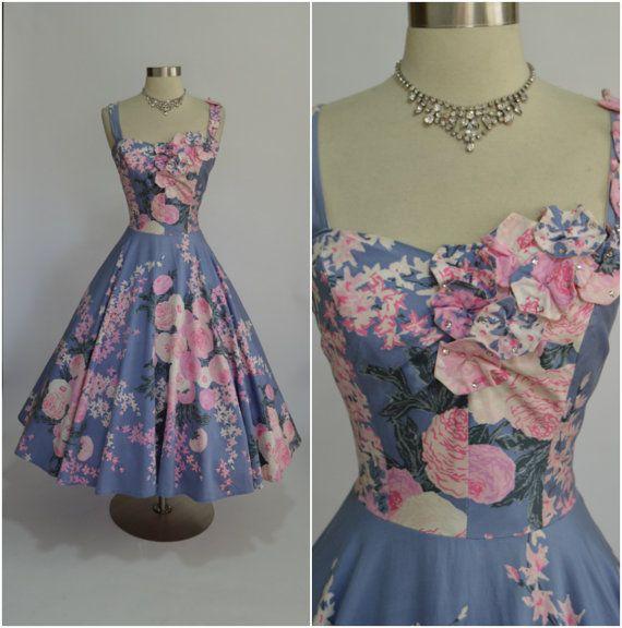 KAHANA 1950's Vintage Polished Cotton Hawaiian by RubyFayesVintage Women's vintage spring summer outdoor gala party fashion