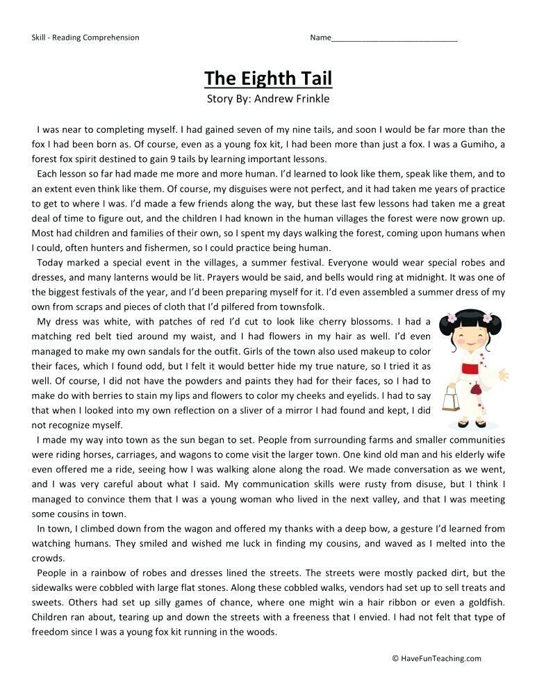 6th Grade Comprehension Worksheets