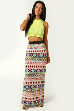1f62c534d Boohoo | cute clothes | Printed maxi skirts, Aztec maxi skirts, Skirts