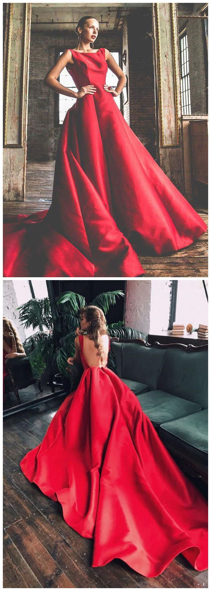 Sweepbrush train prom dresses aline red simple cheap long prom