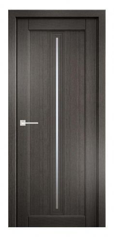 Photo of Gray oak wooden door has a unique design that comprises of a satin glass in the …