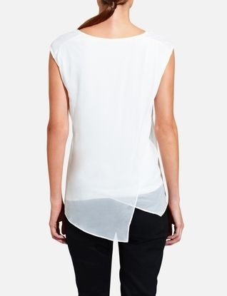 Chiffon-Overlay Knit Top from THELIMITED.com