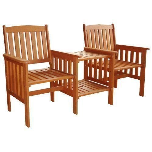 2 seater wooden love seat chair garden furniture wood patio outdoor with table - Wooden Garden Furniture Love Seats