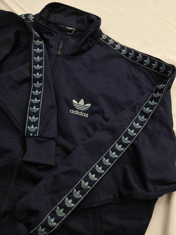 Vintage Adidas Full Stripe Originals Jacket Ribbon Tape Side