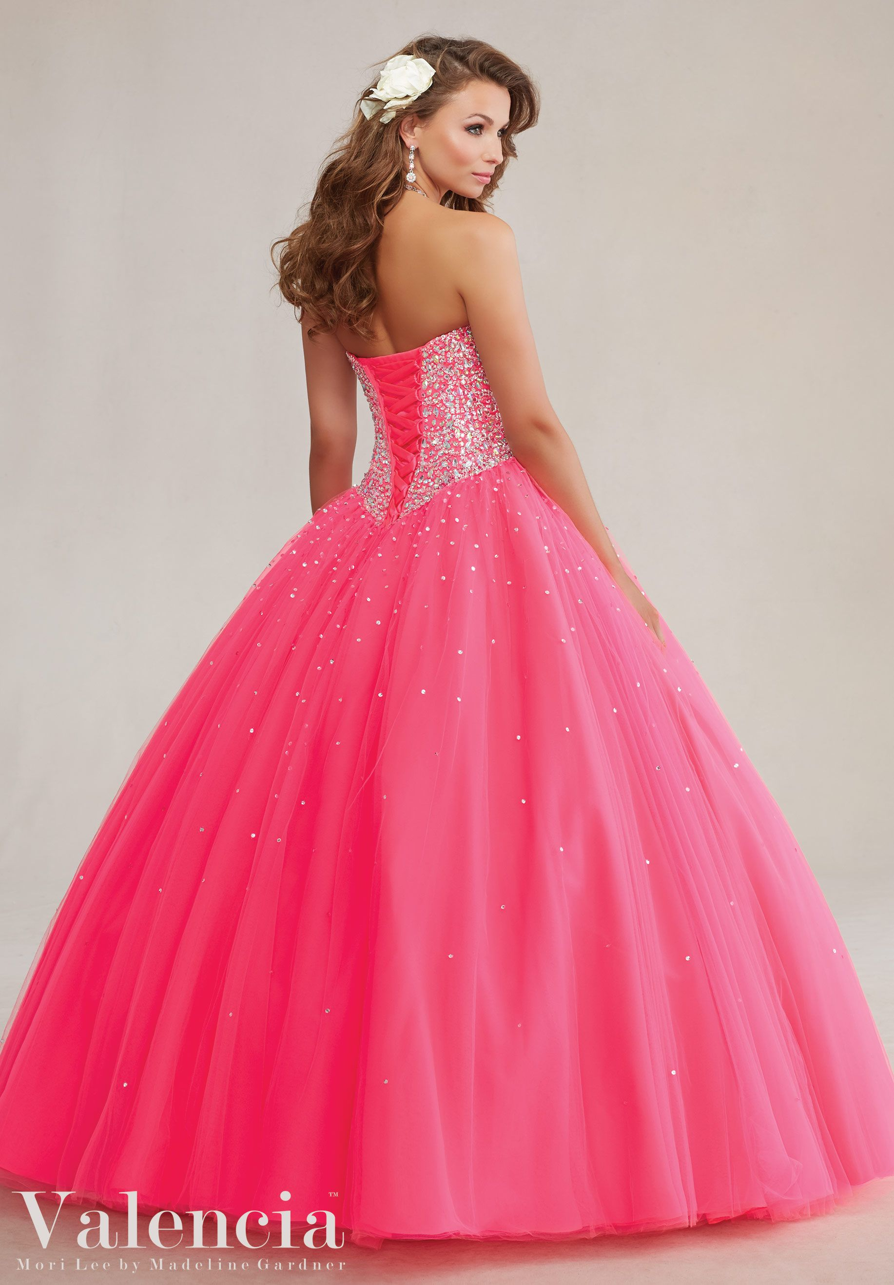 Pink Beautiful Jeweled Beading on a Tulle Princess Ball Gown ...
