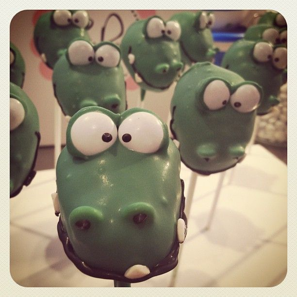 Later Alligator! #lilcutiepops #cakepops #alligator #lateralligator #inawhilecrocodile #cute #cakeonastick #yum #seriously #cuterthanacupcake #redbank