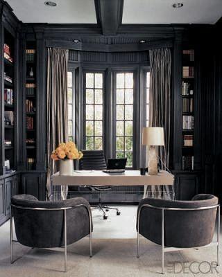 Dark Grey Home Office Elle Decor Beautiful Office Spaces Masculine Home Offices Home Office Design
